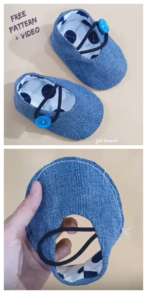 DIY Recycled Jean Baby Booties Free Sewing Patterns + Video