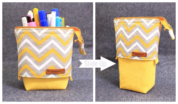 DIY Slide Down Standing Pencil Case Free Sewing Pattern + Video