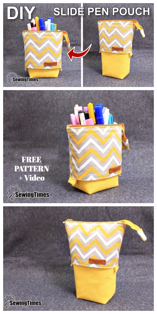 DIY Slide Down Standing Pencil Case Free Sewing Pattern + Video
