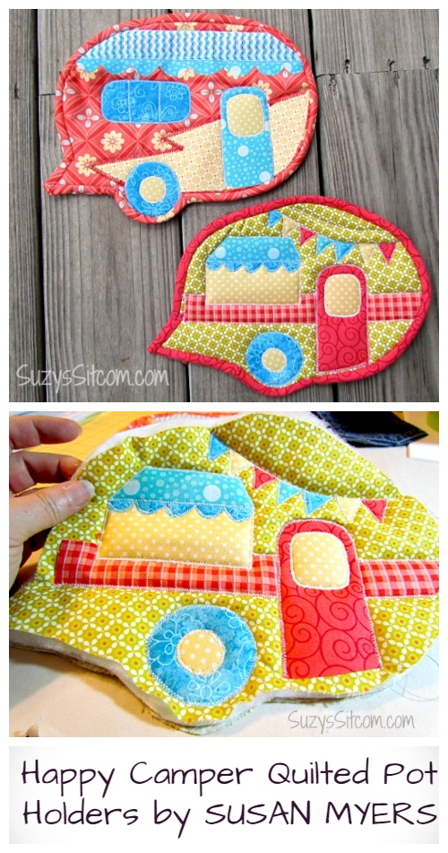 DIY Vintage Quilted Happy Camper Pot Holder Free Sewing Patterns