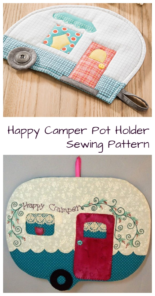 DIY Vintage Quilted Happy Camper Pot Holder Sewing Patterns