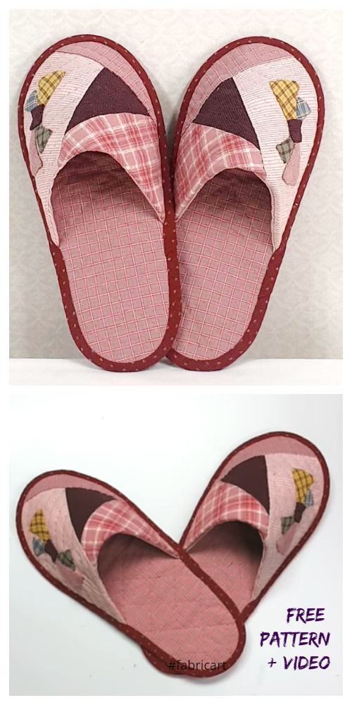 Quilt Fabric Spa Slippers Free Sewing Patterns + Video
