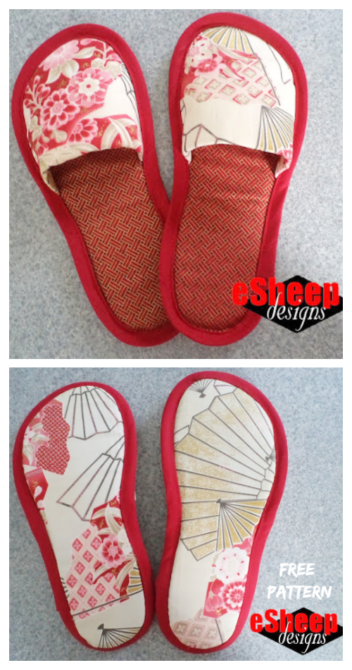 Fabric Spa Slippers Free Sewing Patterns