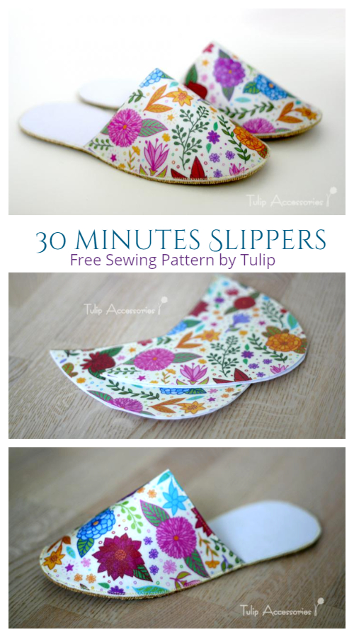 DIY 30 Minutes Elegant Slippers Free Sewing Pattern and Tutorial