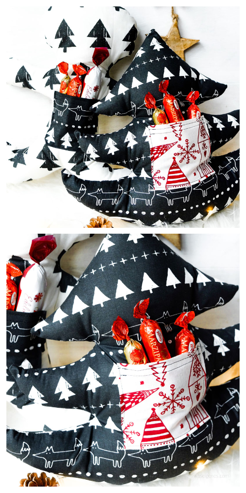DIY 3D Stuffed Fabric Christmas Tree Gift Pillow