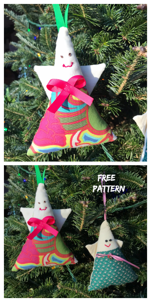 DIY Christmas Fabric Triangle Angle Softie Ornament Free Sewing Patterns