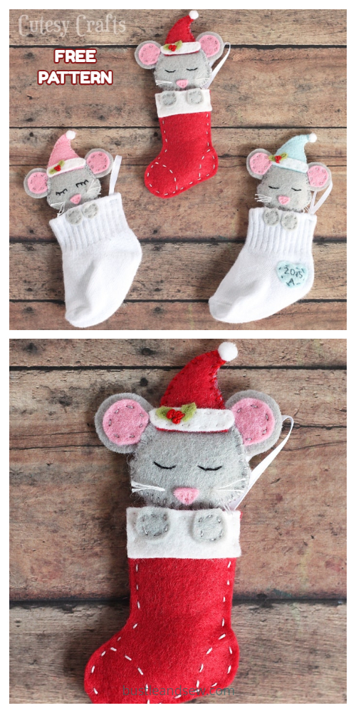 Christmas Mouse in Sock ornament Free Sewing Patterns