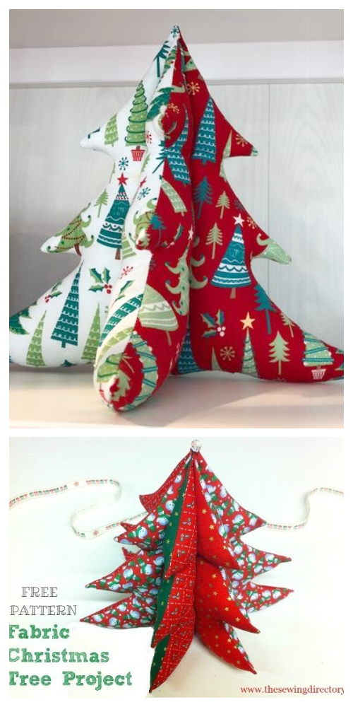 DIY 3D Stuffed Fabric Christmas Tree Free Sewing Patterns + Tutorials