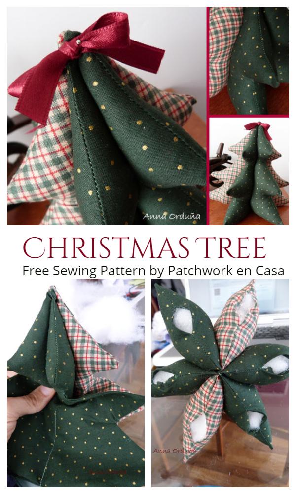 DIY 3D Stuffed Fabric Christmas Tree Free Sewing Patterns + Tutorials