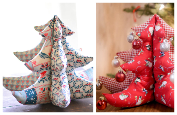 DIY 3D Stuffed Fabric Christmas Tree Free Sewing Patterns