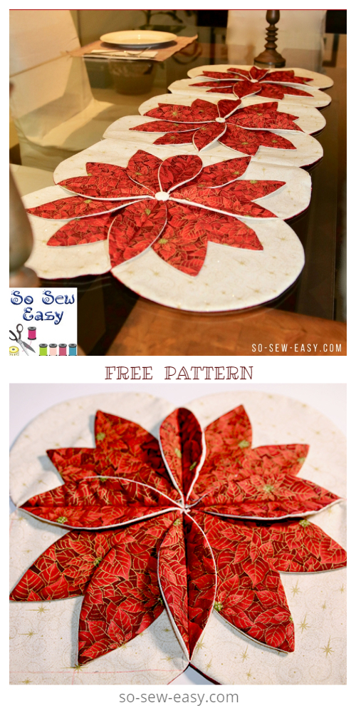 DIY Christmas Table Runner Free Sewing Patterns tutorials