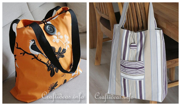 DIY Durable Fabric Shopping Bag Free Sewing Pattern Tutorials