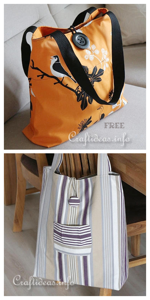 DIY Durable Fabric Shopping Bag Free Sewing Pattern