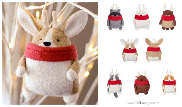 DIY Fabric Christmas Animal Plush Ornament Free Sewing Pattern