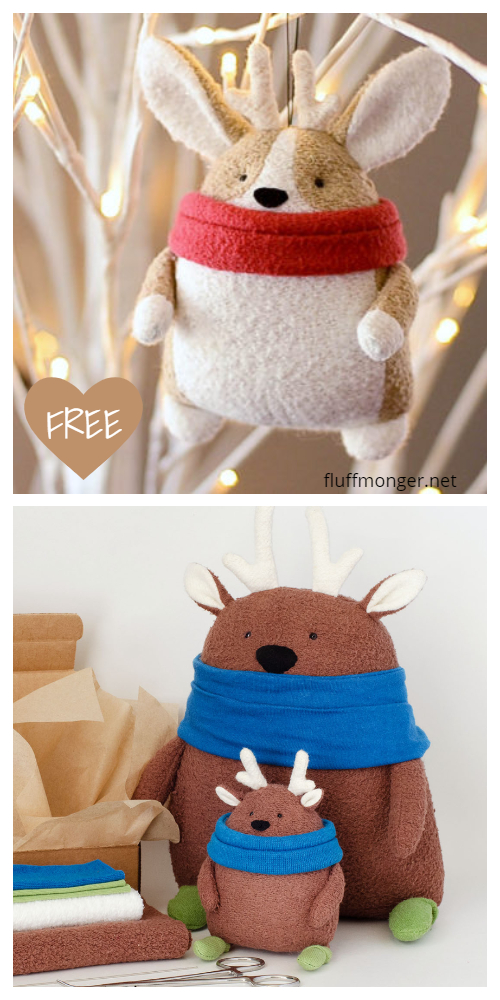 DIY Fabric Christmas Animal Plush Ornament Free Sewing Pattern - Tutorial