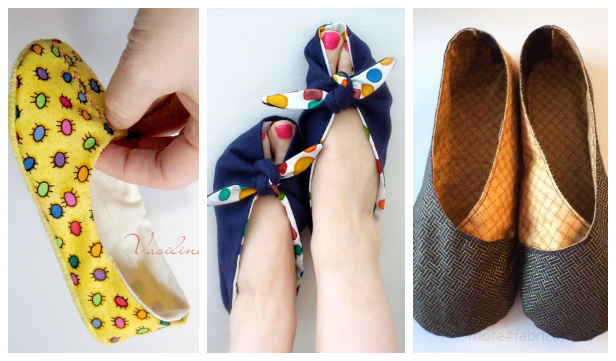 DIY Fabric House Slippers Free Sewing Patterns