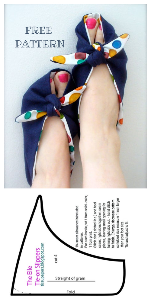 DIY Fabric Elle Tie-On Slippers Free Sewing Patterns