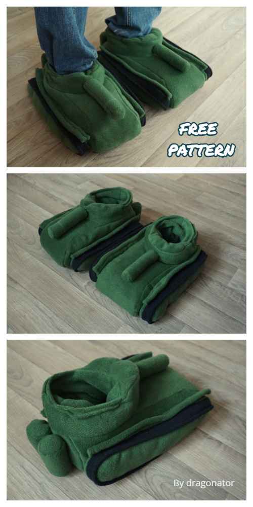 DIY Fabric Tank Slippers Free Sewing Patterns
