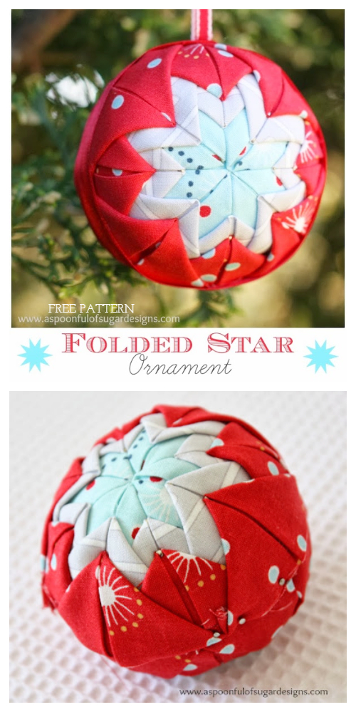 DIY No Sew Patchwork Christmas Folded Star Ornament Free Patterns
