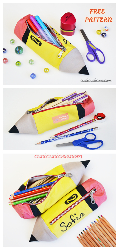 DIY Pencil Shaped Pencil Case Free Sewing Pattern