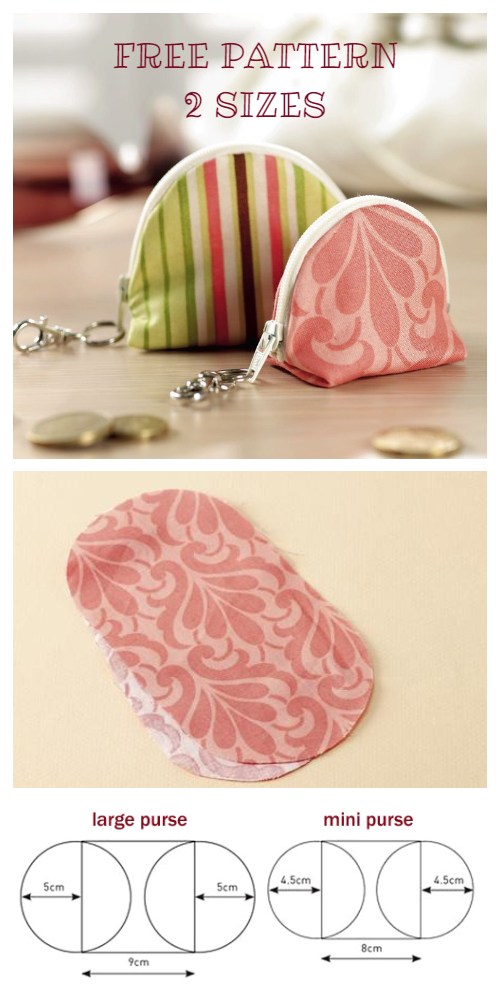 Simple Coin Purse Keychain Free Sewing Pattern