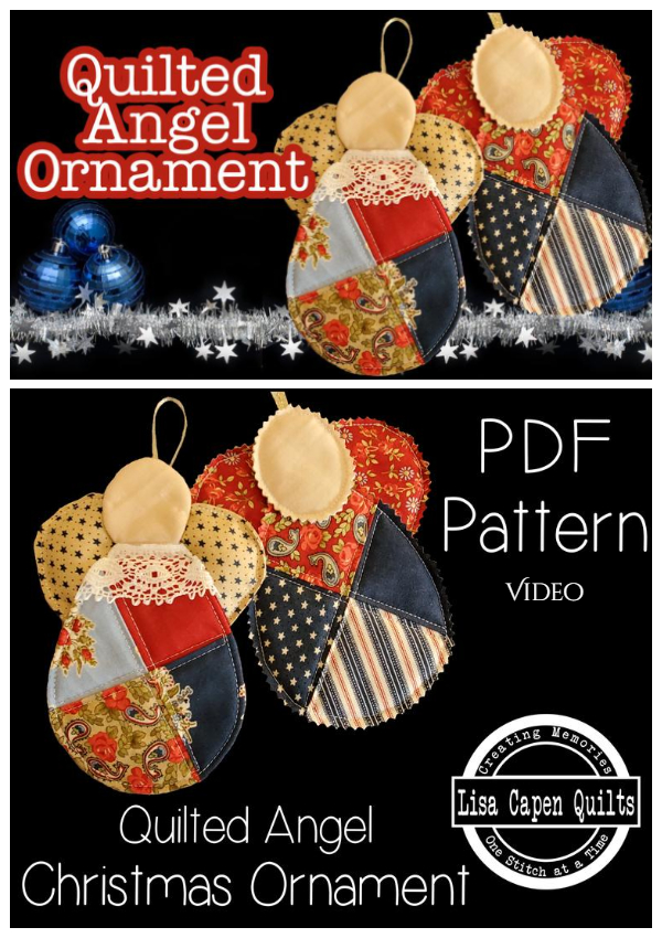 DIY Christmas Quilted Angel Ornament Free Sewing Pattern + Video