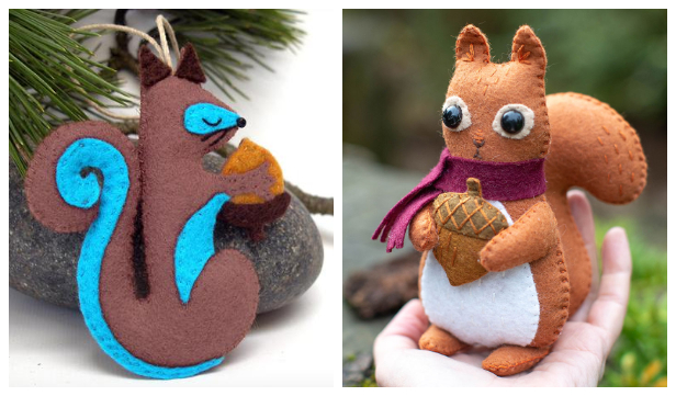DIY Felt Squirrel Free Sewing Patterns + Paid Tutorials