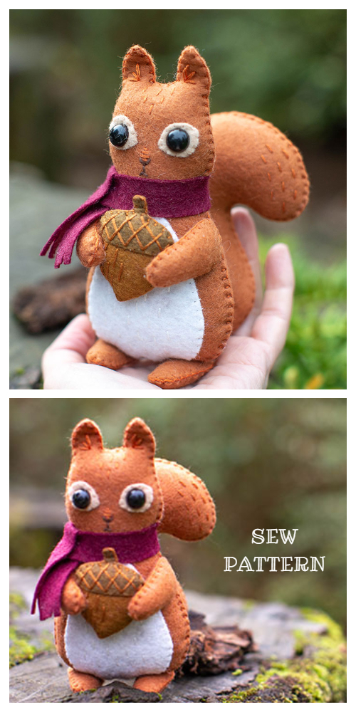 DIY Felt Squirrel Free Sewing Patterns + Tutorial