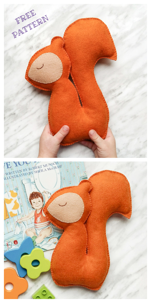 DIY Felt Squirrel Sewing Patterns + Tutorial