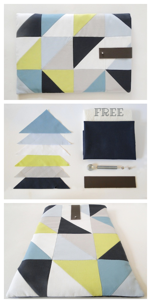 DIY Quilted Geometric Laptop Sleeve Free Sewing Pattern + Tutorial