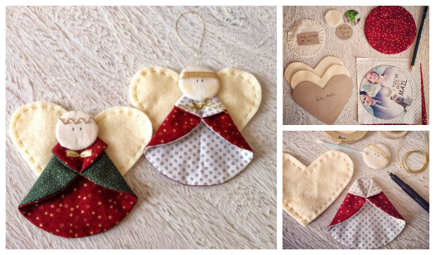 DIY Christmas Fabric Angel Ornament Free Sewing Patterns