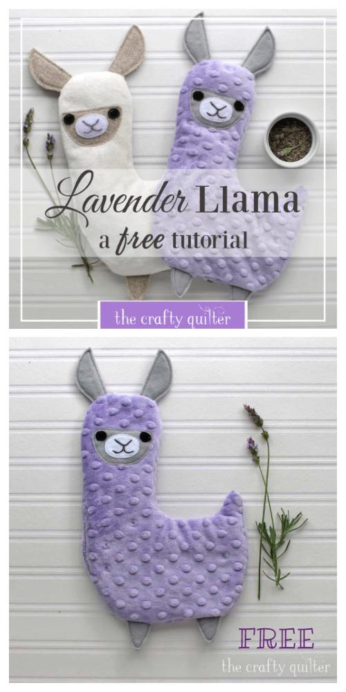 DIY Fabric Lavender Llama Hotpack Free Sewing Pattern + Tutorial