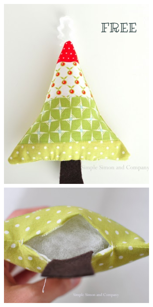 DIY Tiny Tree Decorations Free Sewing Pattern