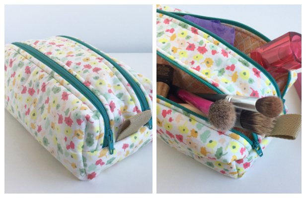 DIY Fabric Double Zipper Cosmetic Bag Free Sewing Pattern