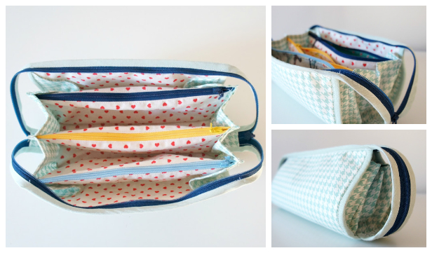 DIY Fabric 5-Pocket Zipper Case Free Sewing Pattern