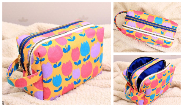 DIY Fabric Double Zipper Cosmetic Bag Free Sewing Pattern + Video