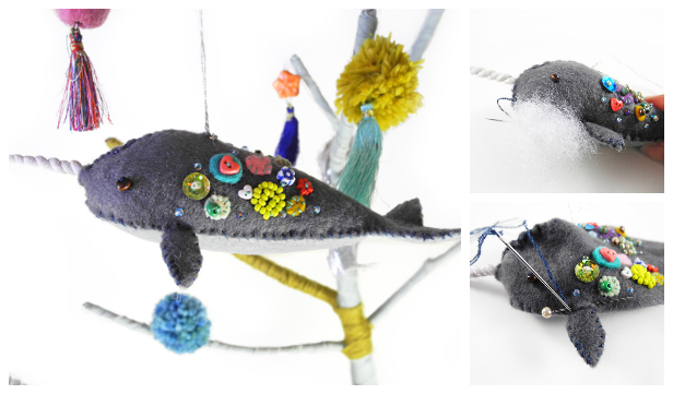 DIY Felt Narwhal Ornament Free Sewing Pattern + Tutorial