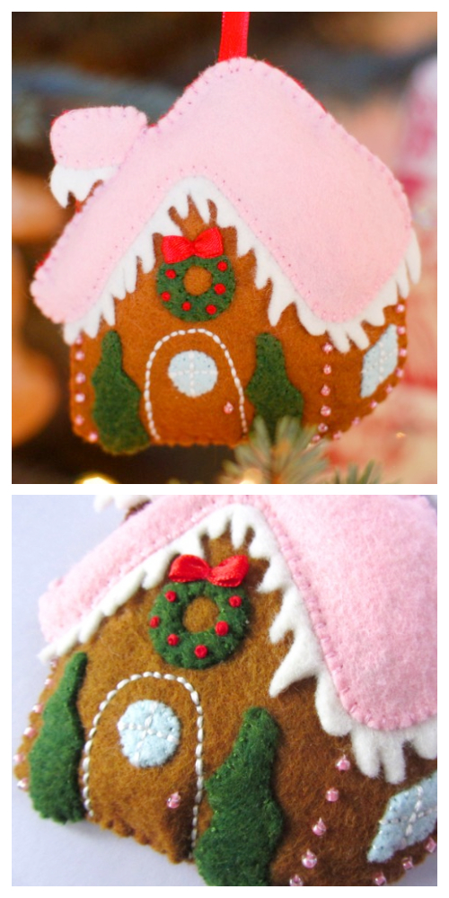 DIY Gingerbread House Christmas Ornament Free Sewing Patterns