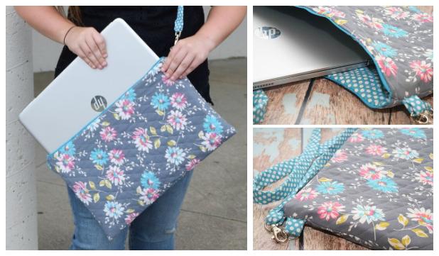 DIY Quilted Laptop Bag Free Sewing Pattern + Tutorial