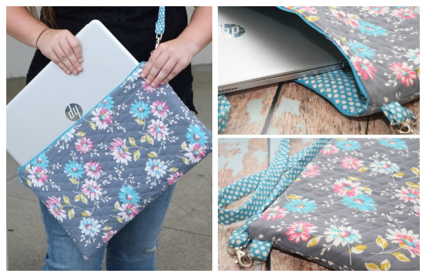 DIY Quilted Laptop Bag Free Sewing Pattern + Tutorial