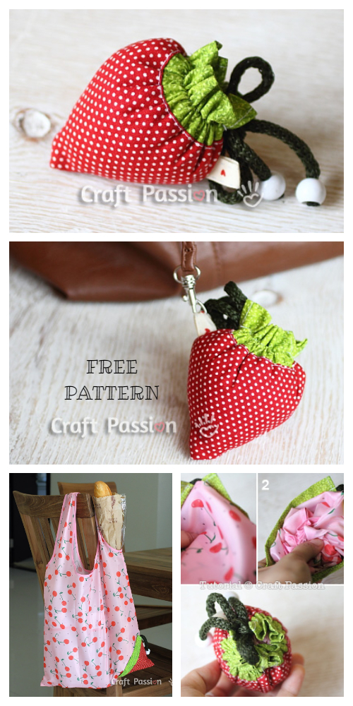 DIY Strawberry Reusable Bag Grocery Bag Free Sew Pattern + Tutorial
