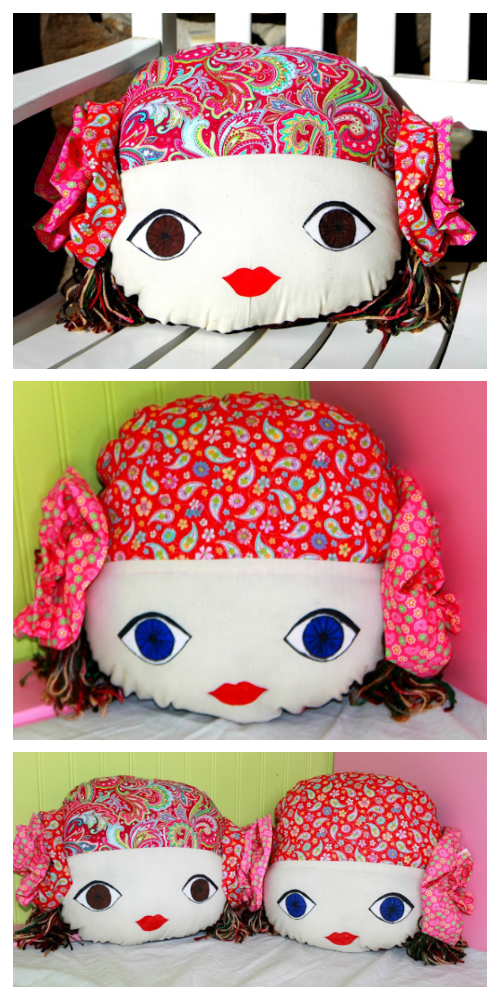 DIY Gypsy Doll Face Pillow Free Sewing Pattern & Tutorial