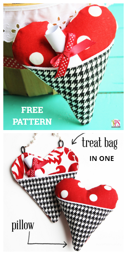 DIY Valentine Fabric Heart Pocket Pillow Free Sewing Patterns + Tutorialw Free Sewing Patterns f1