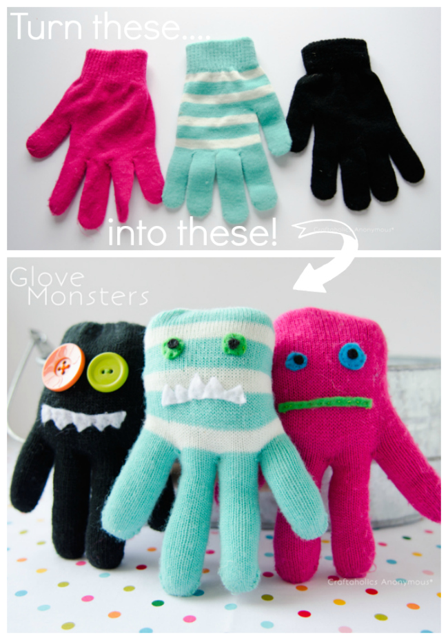 Easy DIY Glove Monster Toy Free Sewing Patterns