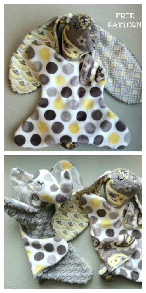 DIY Fabric Bunny Lovey Free Sewing Patterns - Tutorials
