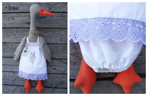 DIY Fabric Goose Grocery Bag Holder Free Sewing Pattern
