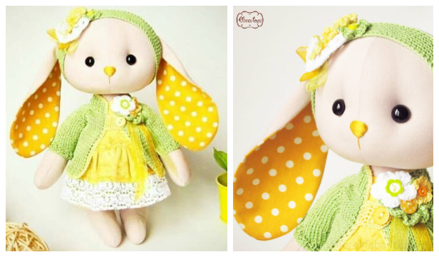 DIY Fabric Long Ear Bunny Doll Free Sewing Pattern + Video
