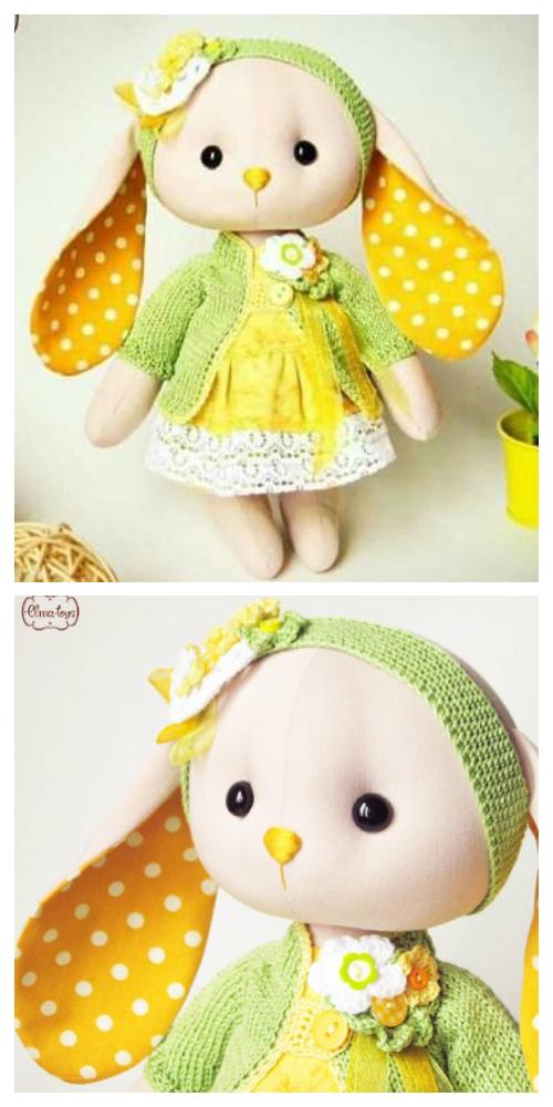 DIY Fabric Long Ear Bunny Doll Free Sewing Pattern + Video