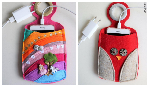 Easy DIY Fabric Phone Charger Station Free Sewing Pattern + Tutorial