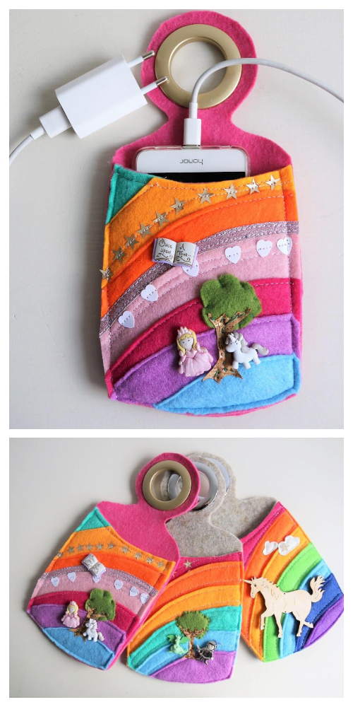 DIY Felt Rainbow Phone Charger Station Free Sewing PatternsSewing Patterns